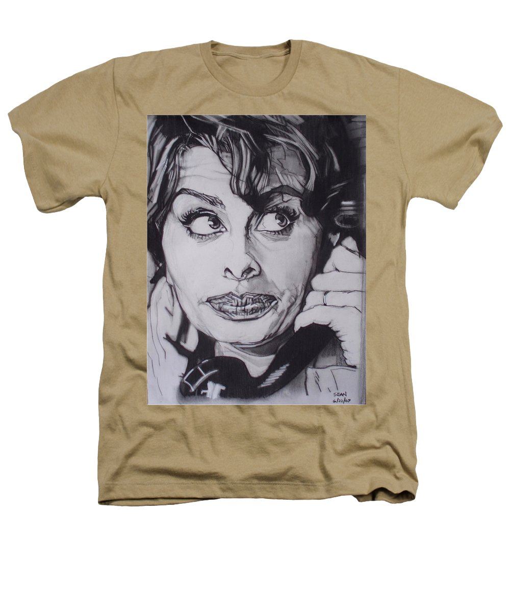 Charcoal;icon;actress;diva;italian;cat Eyes;beautiful;cute;adorable Heathers T-Shirt featuring the drawing Sophia Loren Telephones by Sean Connolly
