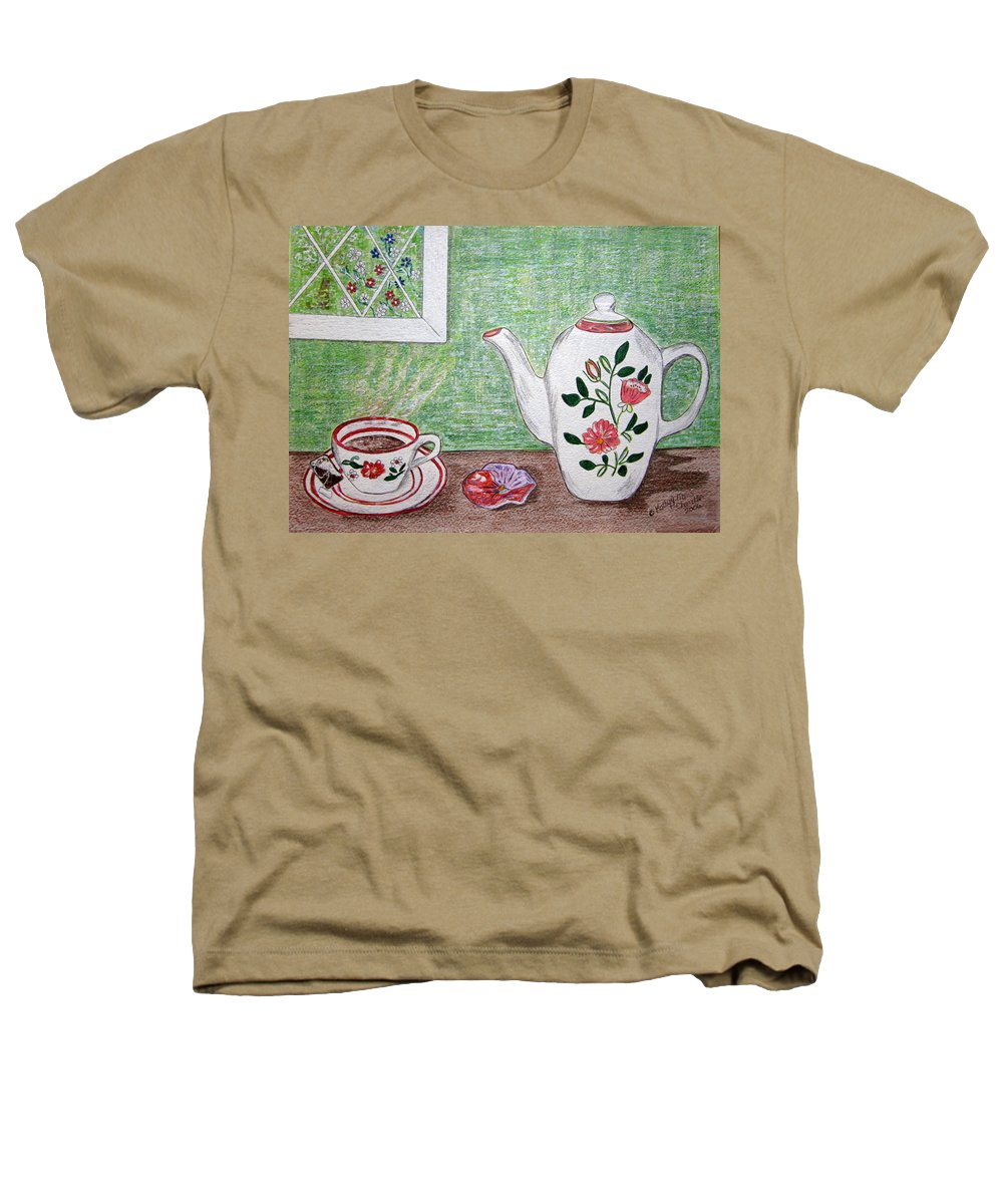 Stangl Pottery Heathers T-Shirt featuring the painting Stangl Pottery Rose Pattern by Kathy Marrs Chandler