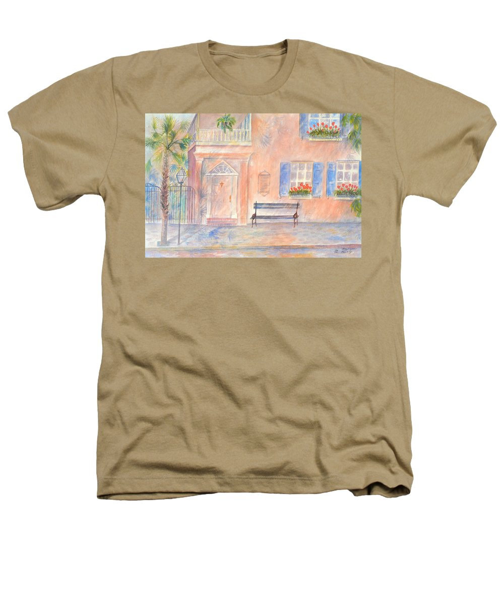 Charleston; Low Country; Palmetto Tree Heathers T-Shirt featuring the painting Sunday Morning In Charleston by Ben Kiger