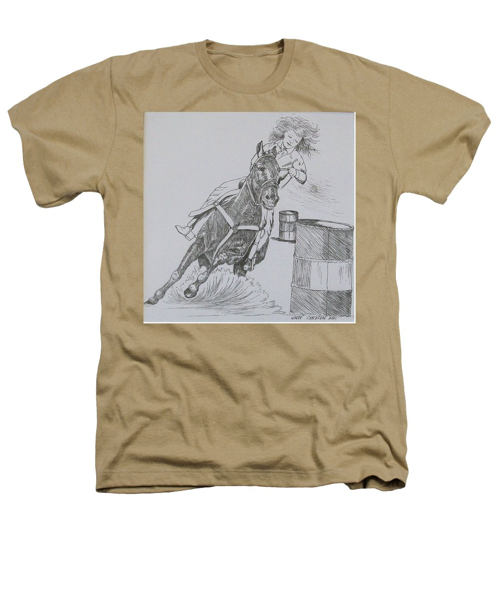 Black And Grey Black Poster Heathers T-Shirt featuring the drawing The Barrel Racer by Wanda Dansereau