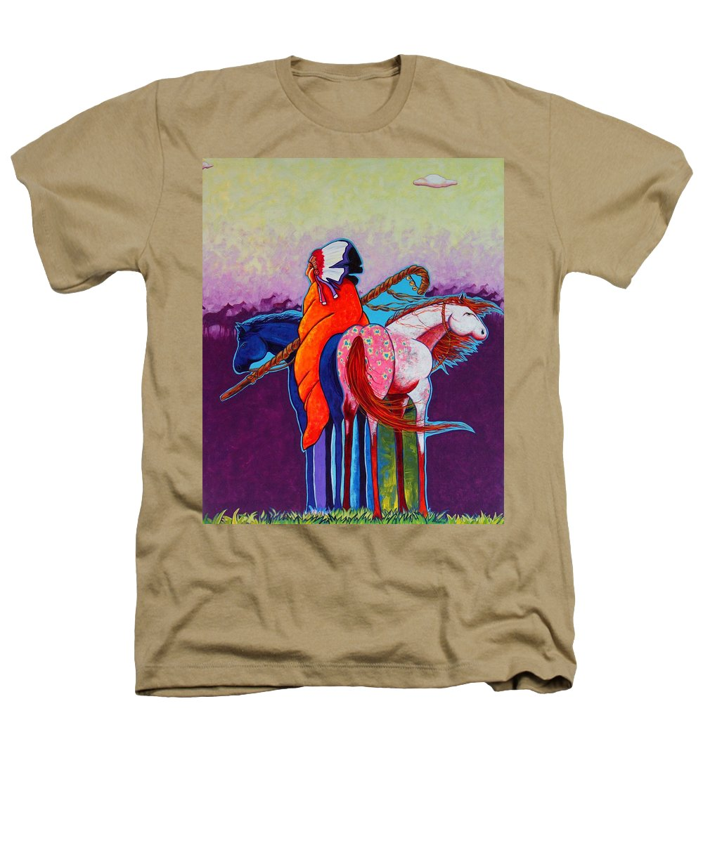 Native American Heathers T-Shirt featuring the painting The Peacemakers Gift by Joe Triano