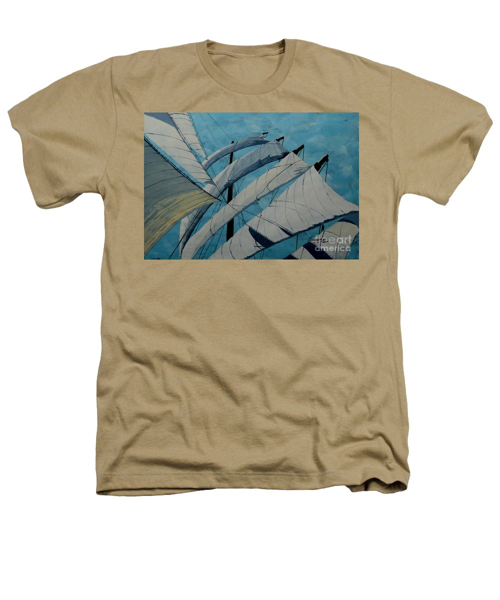 Sails Heathers T-Shirt featuring the painting The Tower Of Power by Anthony Dunphy