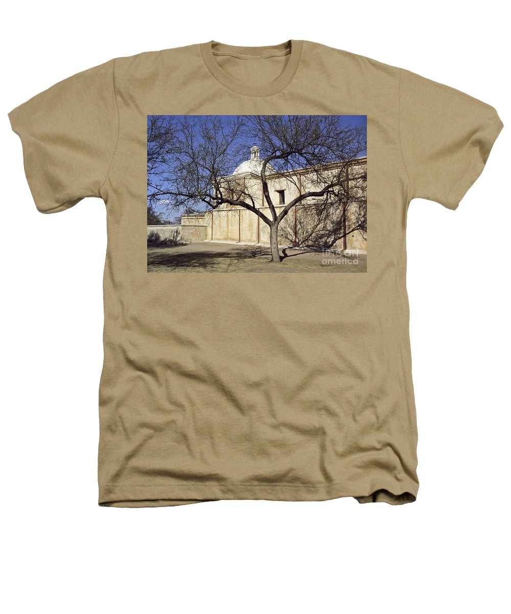 Mission Heathers T-Shirt featuring the photograph Tumacacori With Tree by Kathy McClure