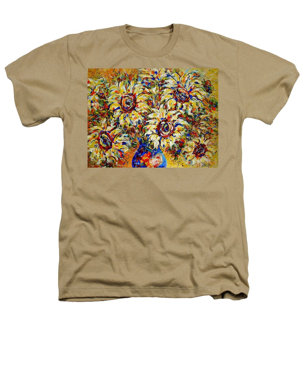 Flowers Heathers T-Shirt featuring the painting Vibrant Sunflower Essence by Natalie Holland