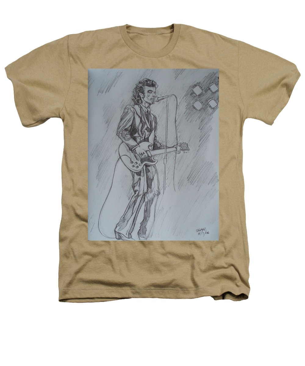 Pencil Heathers T-Shirt featuring the drawing Mink Deville - Steady Drivin' Man by Sean Connolly