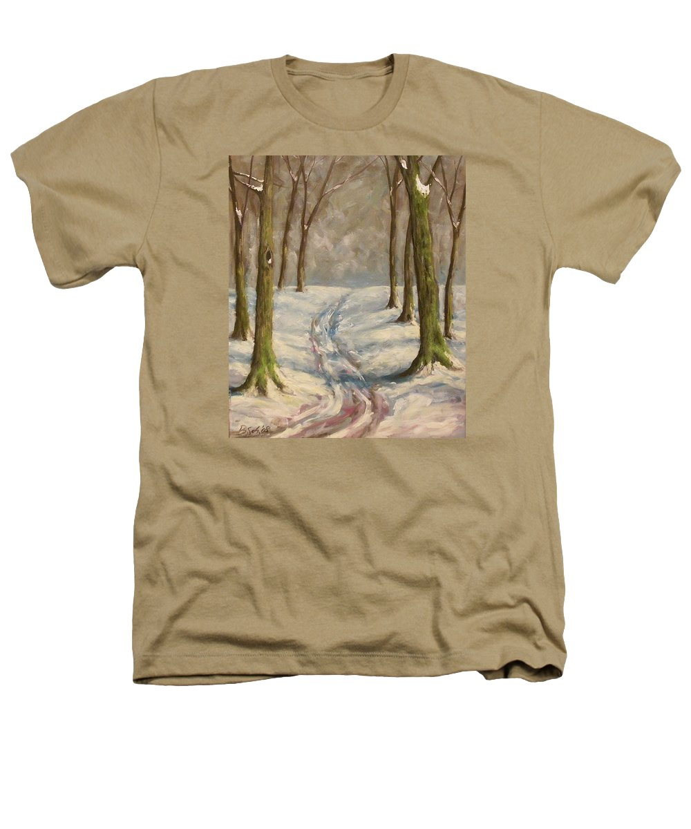 Winter Heathers T-Shirt featuring the painting Winter Day by Birgit Schnapp