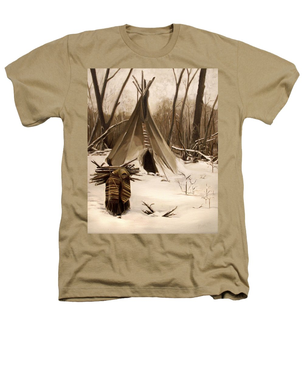 Native American Heathers T-Shirt featuring the painting Wood Gatherer by Nancy Griswold