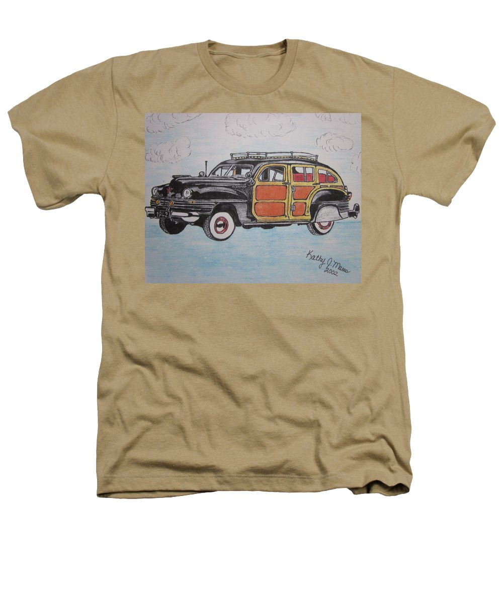 Woodie Heathers T-Shirt featuring the painting Woodie Station Wagon by Kathy Marrs Chandler