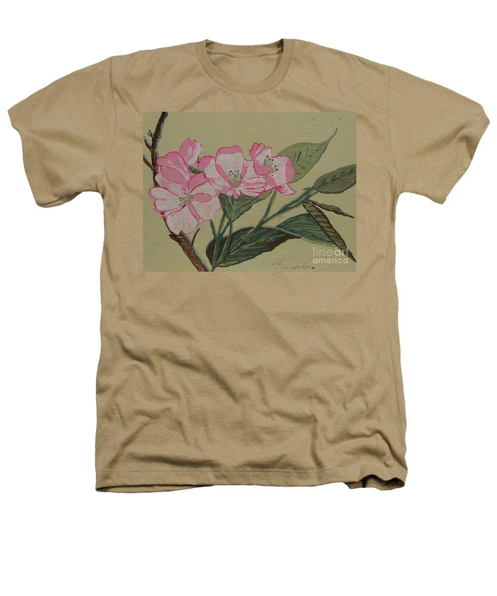 Yamazakura Heathers T-Shirt featuring the painting Yamazakura Or Cherry Blossom by Anthony Dunphy