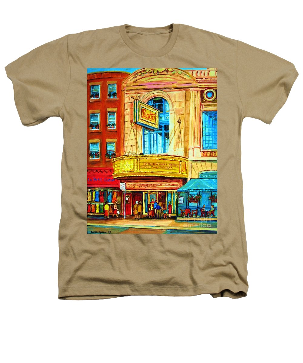 Street Scene Heathers T-Shirt featuring the painting The Rialto Theatre by Carole Spandau