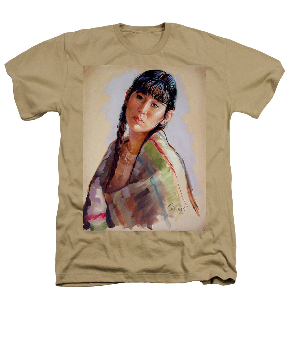 Sacajawea Heathers T-Shirt featuring the painting Sacajawea  Study by Jerrold Carton