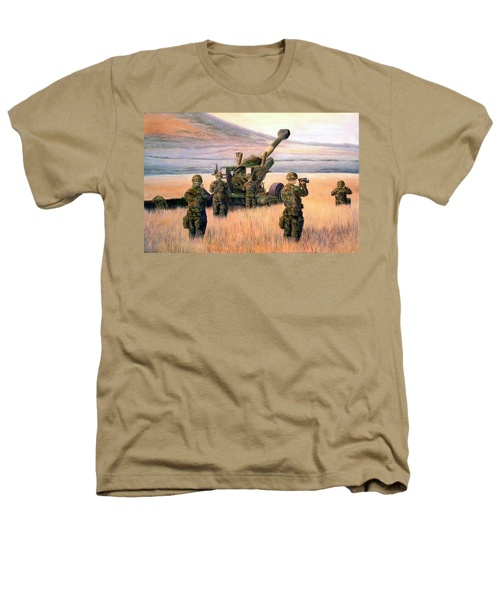 Signed And Numbered Prints Of The Montana National Guard Heathers T-Shirt featuring the print 1-190th Artillery by Scott Robertson