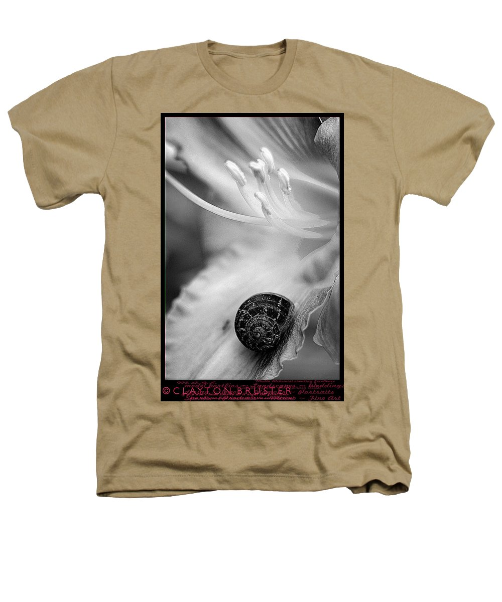 Clay Heathers T-Shirt featuring the photograph B And White Floral With Snail by Clayton Bruster