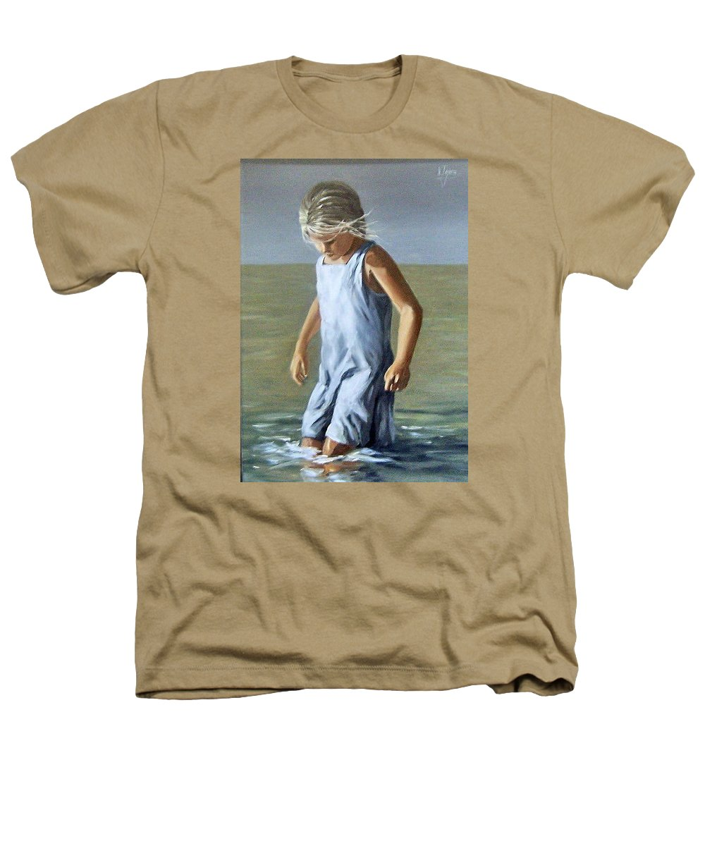 Girl Children Reflection Water Sea Figurative Portrait Heathers T-Shirt featuring the painting Girl by Natalia Tejera