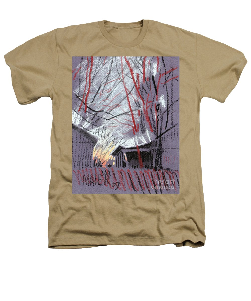 Pastel Heathers T-Shirt featuring the drawing Grey Evening by Donald Maier