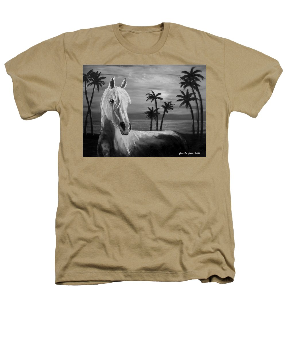 Horses Heathers T-Shirt featuring the painting Horses In Paradise Tell Me Your Dream by Gina De Gorna