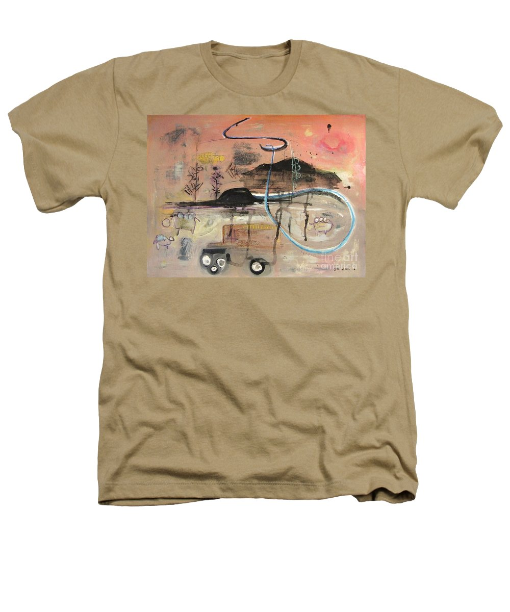 Acrylic Paper Canvas Abstract Contemporary Landscape Dusk Twilight Countryside Heathers T-Shirt featuring the painting The Tempo Of A Day by Seon-Jeong Kim