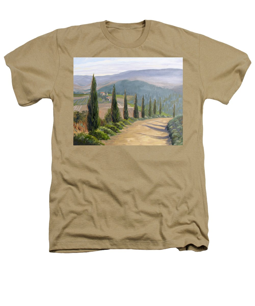 Landscape Heathers T-Shirt featuring the painting Tuscany Road by Jay Johnson