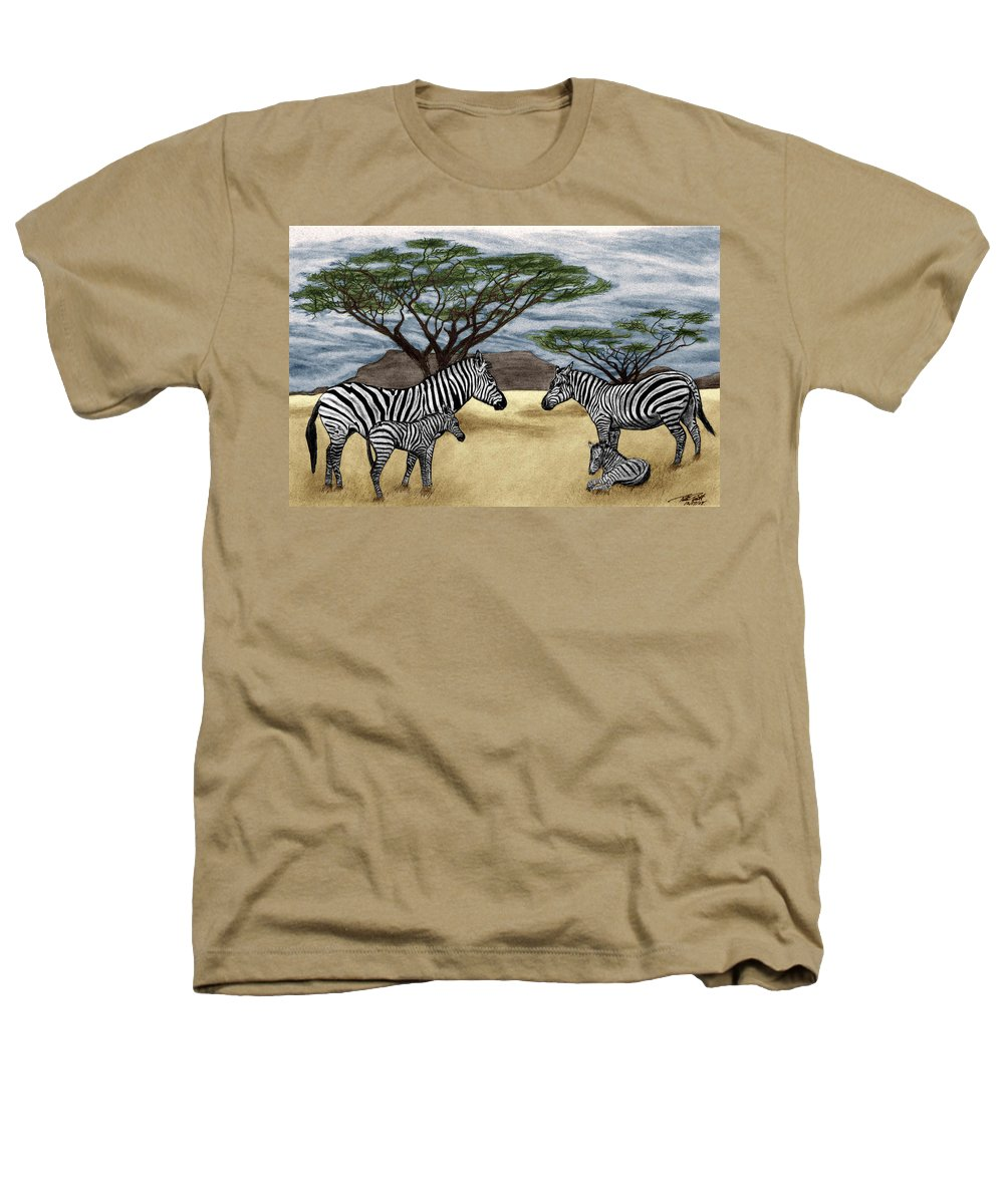 Zebra African Outback Heathers T-Shirt featuring the drawing Zebra African Outback by Peter Piatt