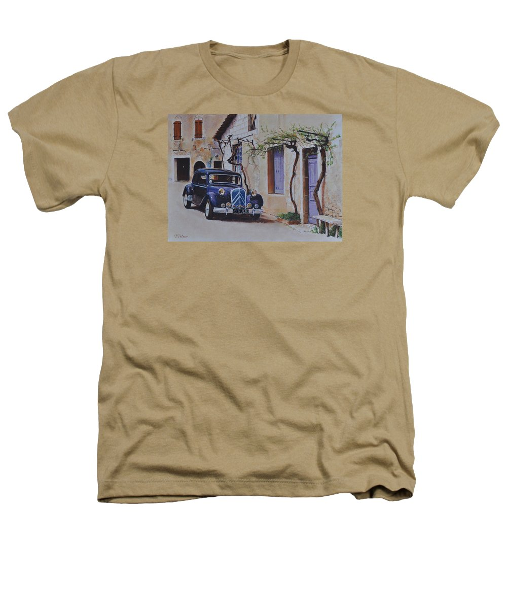Classic Cars Heathers T-Shirt featuring the painting 1951's Citroen by Iliyan Bozhanov