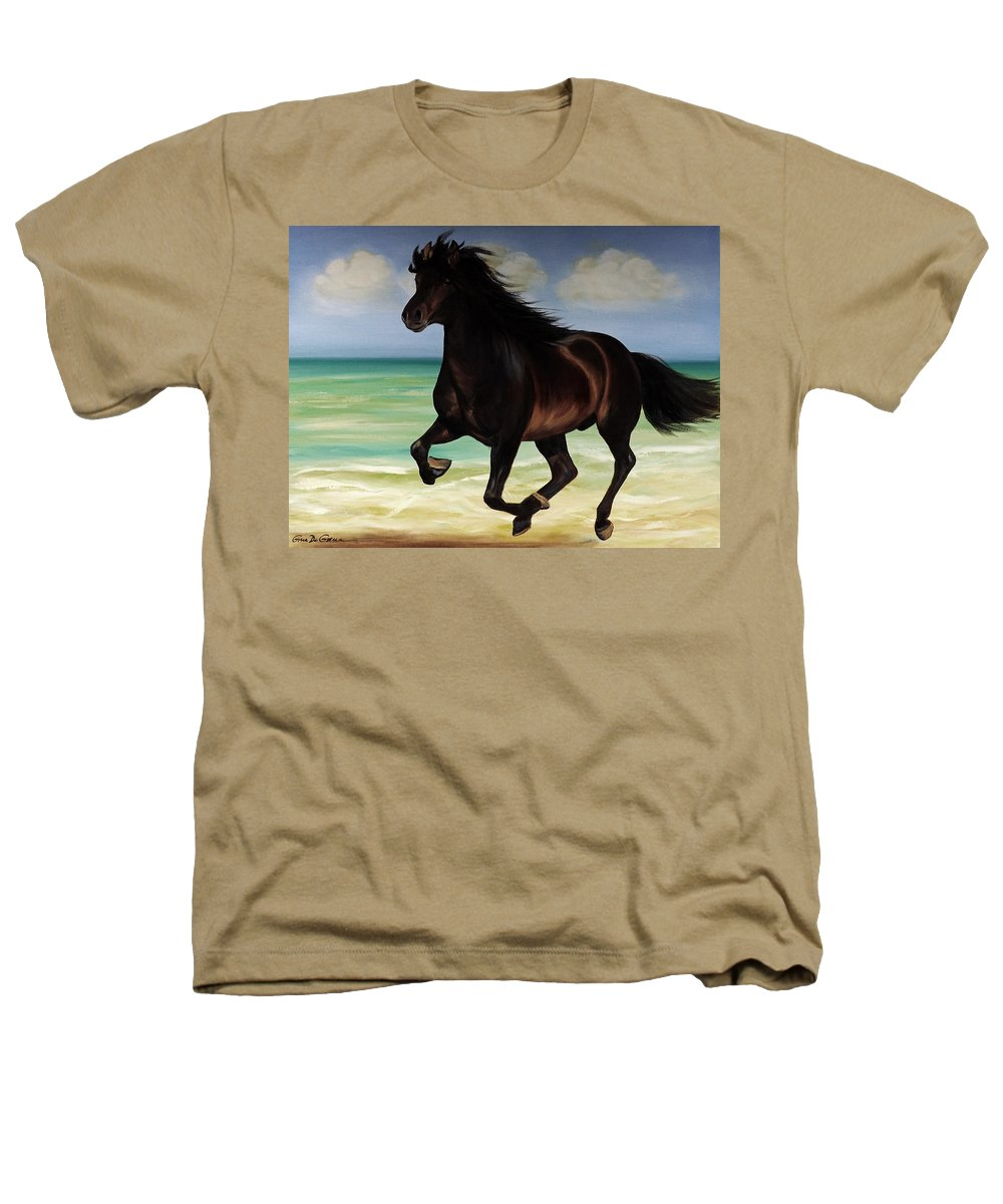 Horse Heathers T-Shirt featuring the painting Horses In Paradise Run by Gina De Gorna