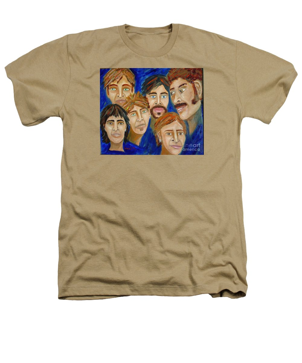 Portrait Heathers T-Shirt featuring the painting 70s Band Reunion by Laurie Morgan