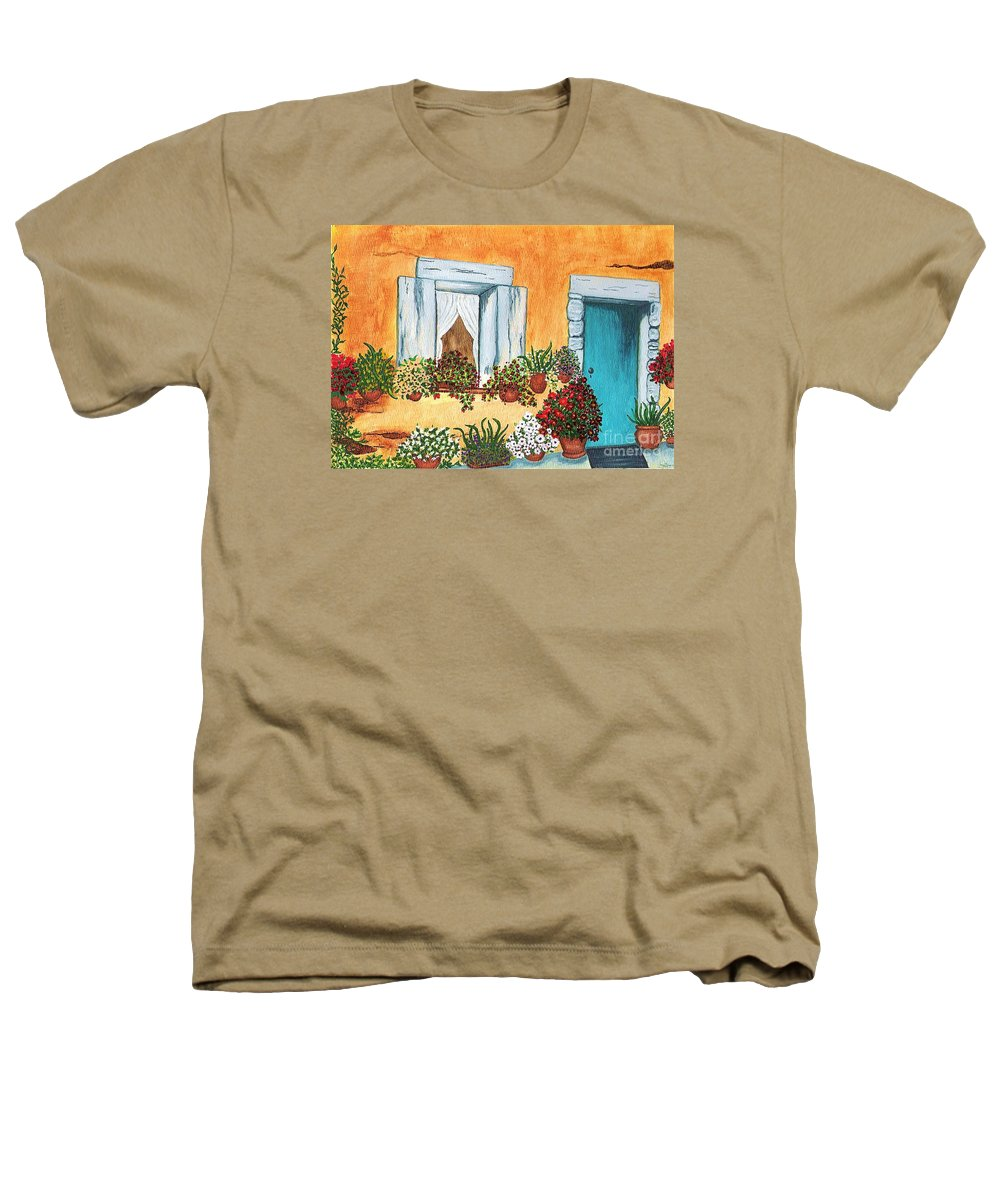 Watercolor Painting Heathers T-Shirt featuring the painting A Cottage In The Village by Patricia Griffin Brett