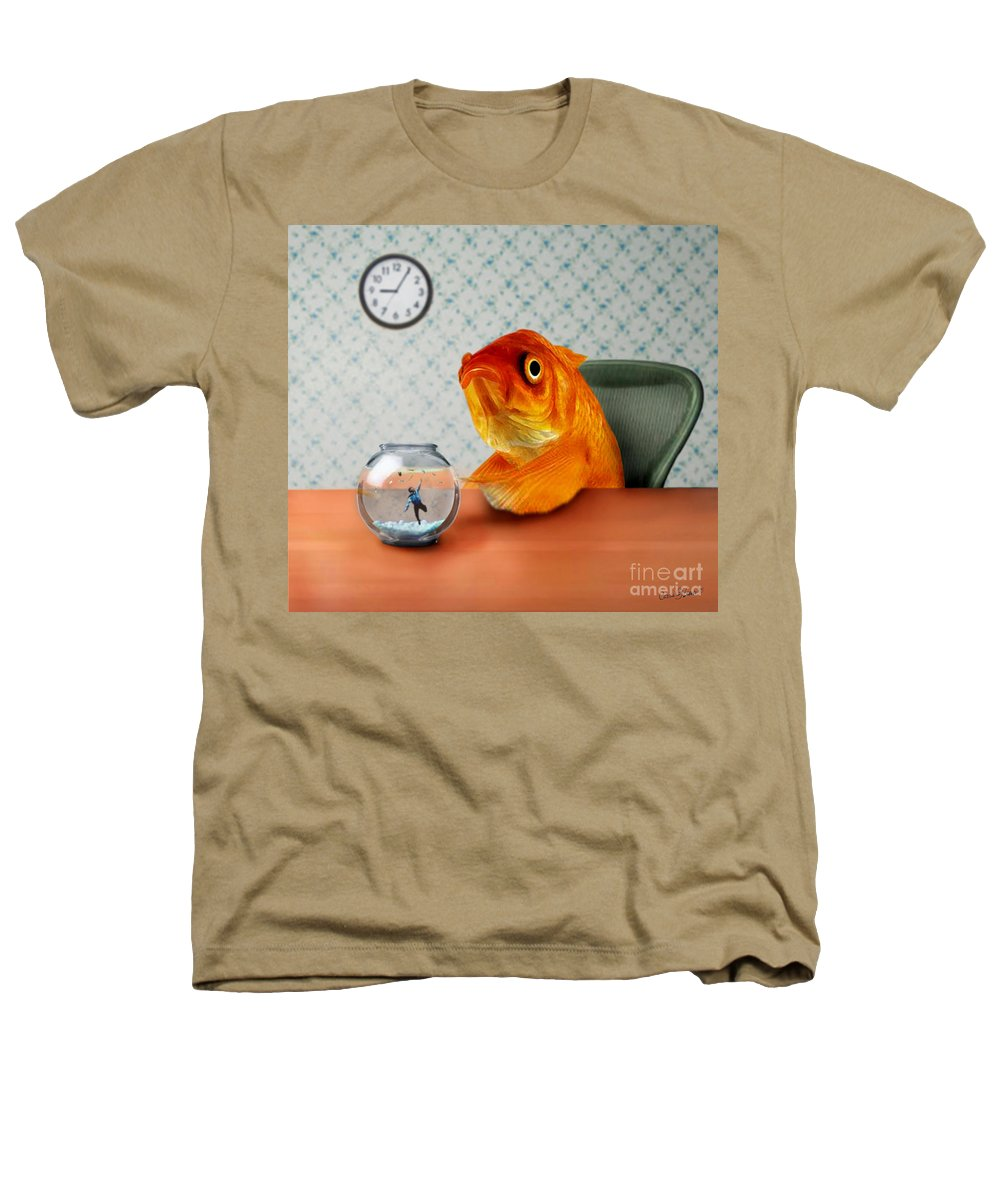 A Fish Out Of Water Heathers T-Shirt featuring the mixed media A Fish Out Of Water by Carrie Jackson