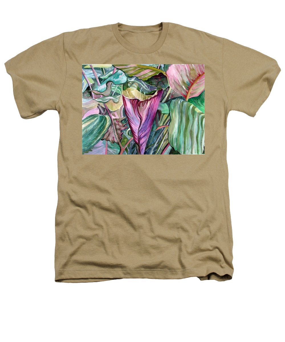 Garden Heathers T-Shirt featuring the painting A Light In The Garden by Mindy Newman