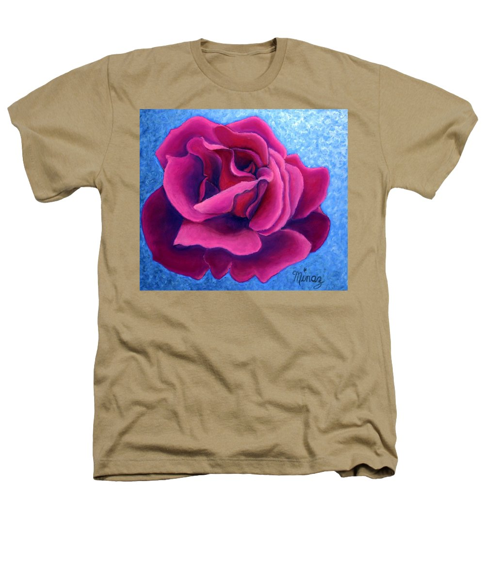 Rose. Pink Rose Heathers T-Shirt featuring the painting A Rose Is A Rose.. by Minaz Jantz
