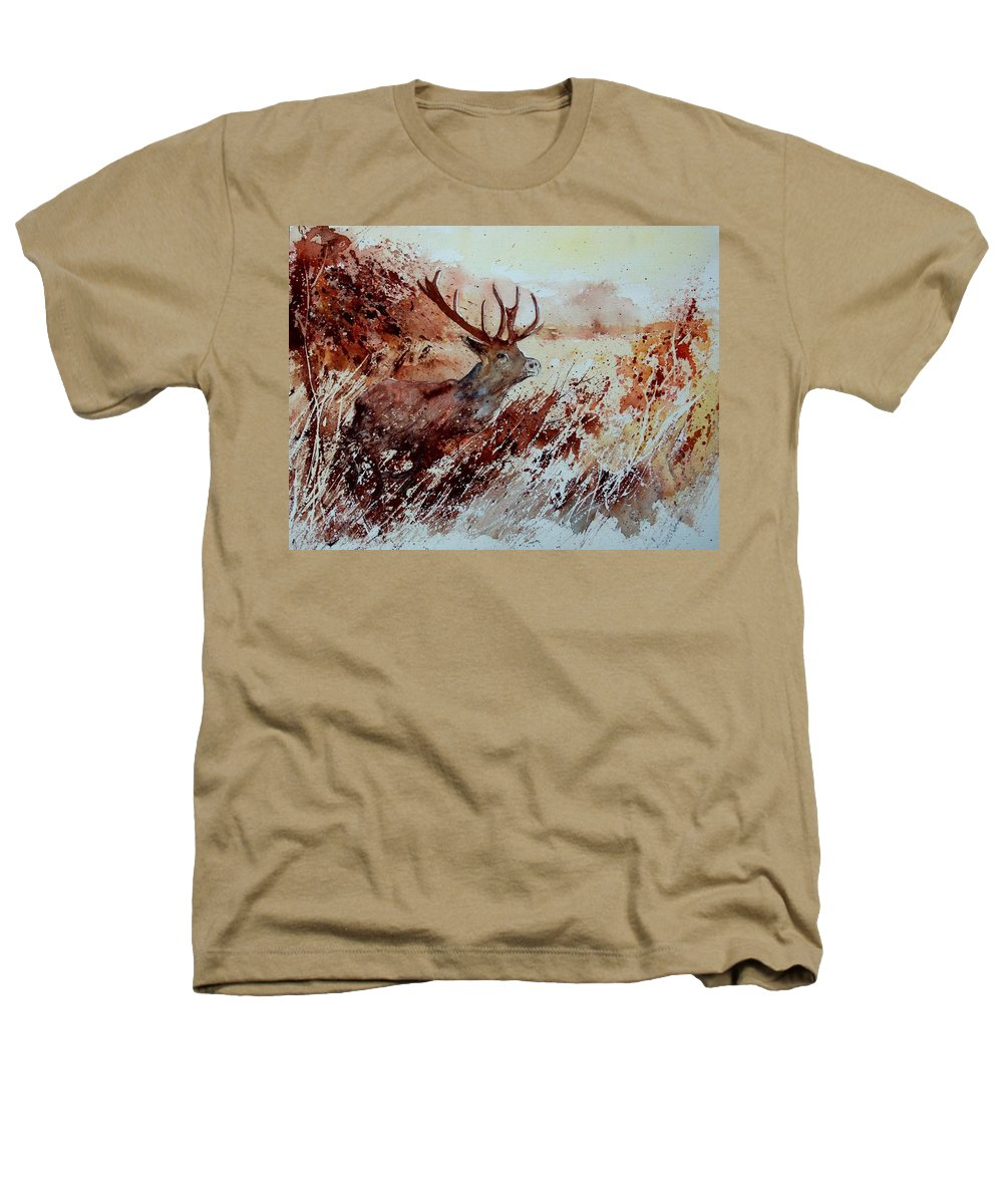 Animal Heathers T-Shirt featuring the painting A Stag by Pol Ledent