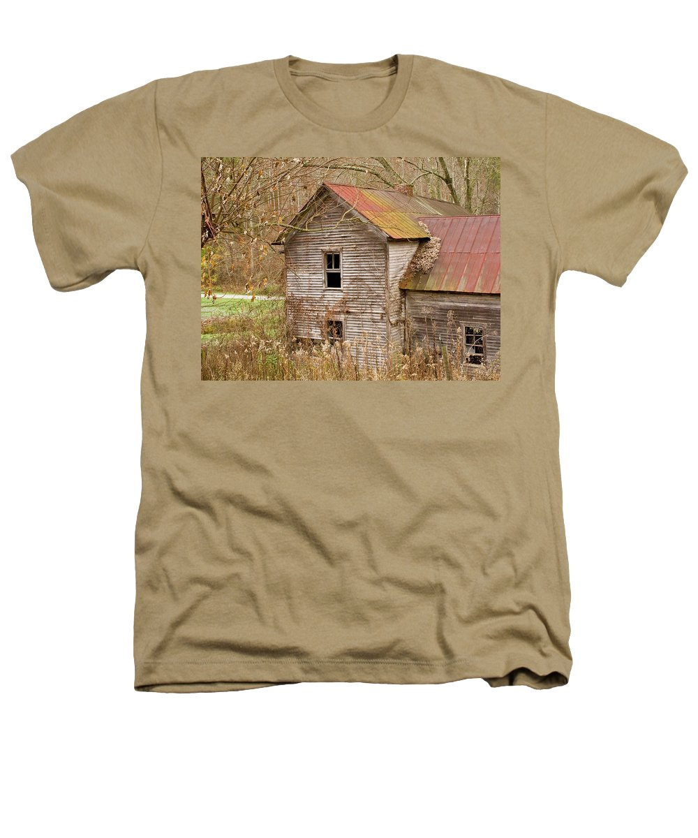 Abandoned Heathers T-Shirt featuring the photograph Abandoned House With Colorful Roof by Douglas Barnett