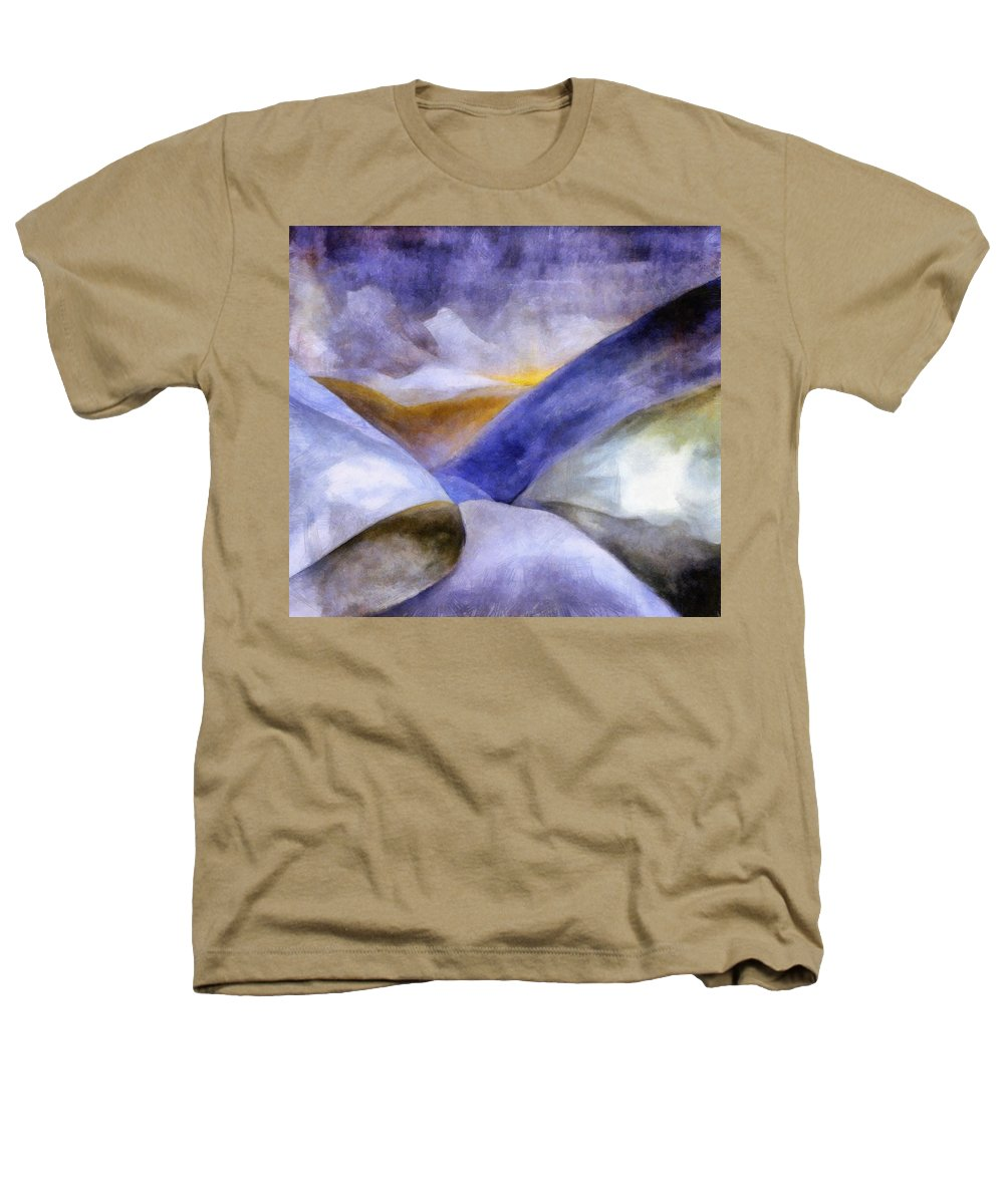 Blue Heathers T-Shirt featuring the painting Abstract Mountain Landscape by Michelle Calkins