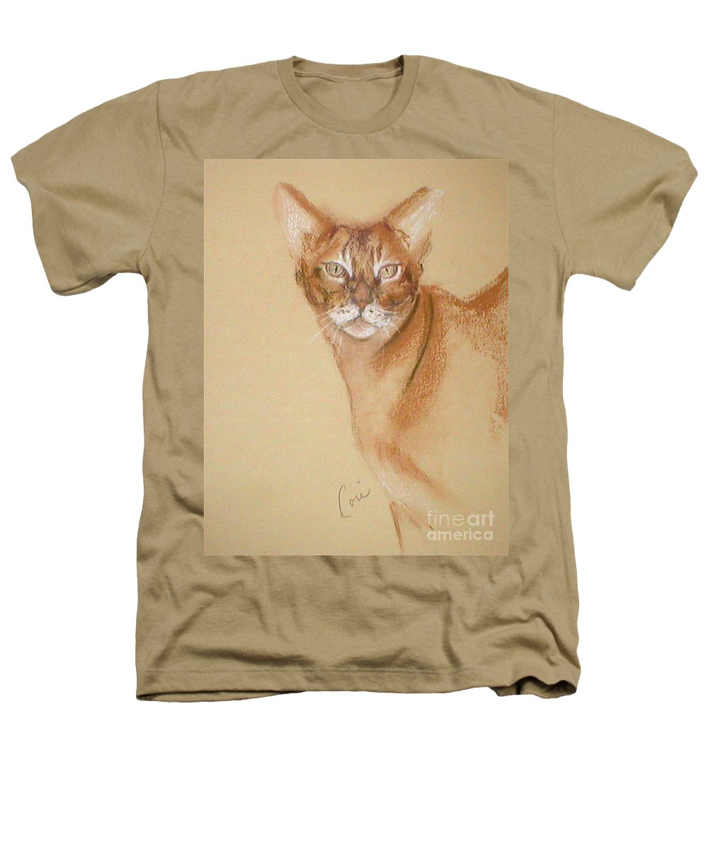 Pastel Heathers T-Shirt featuring the drawing Abyssinian by Cori Solomon