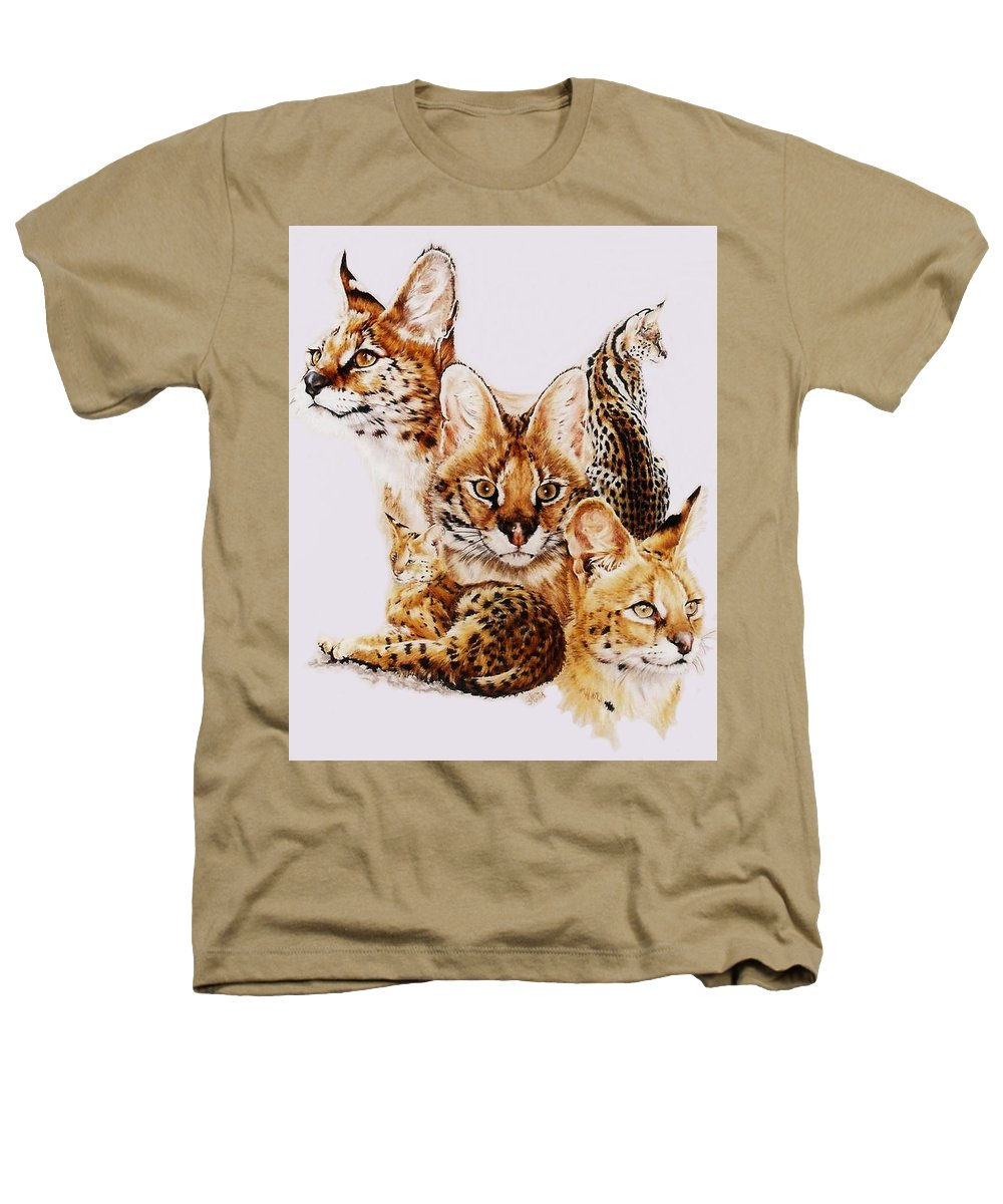 Serval Heathers T-Shirt featuring the drawing Adroit by Barbara Keith