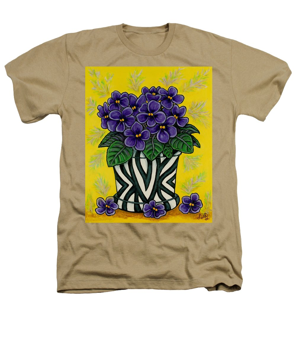 Violets Heathers T-Shirt featuring the painting African Queen by Lisa Lorenz