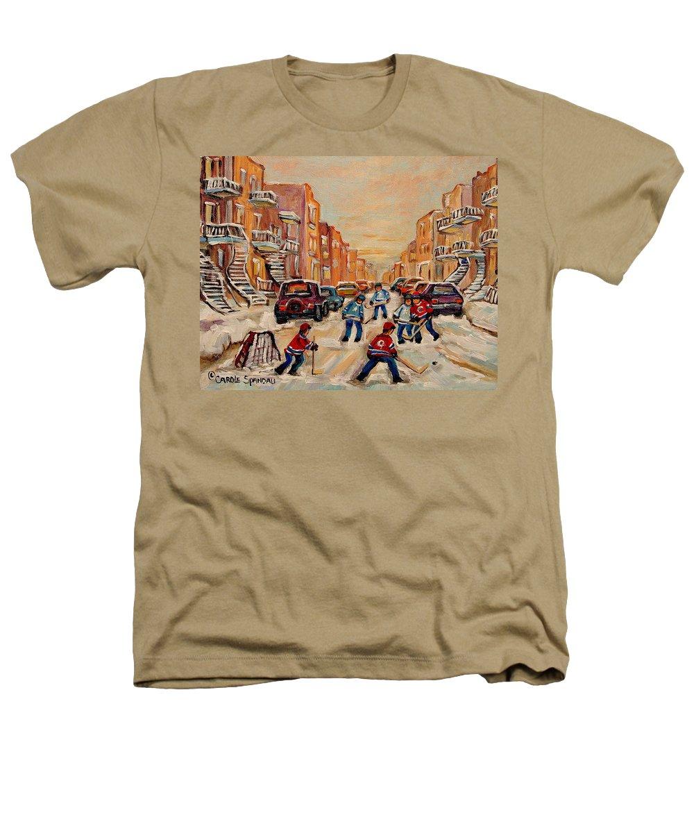 After School Hockey Game Heathers T-Shirt featuring the painting After School Hockey Game by Carole Spandau