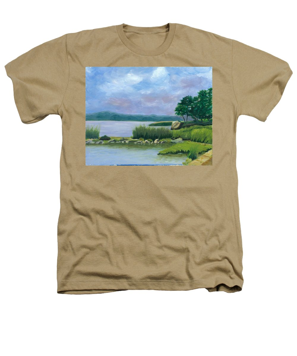 Seascape Heathers T-Shirt featuring the painting Afternoon At Pilgrim by Paula Emery