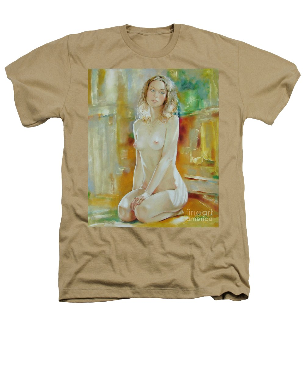 Art Heathers T-Shirt featuring the painting Alone At Home by Sergey Ignatenko