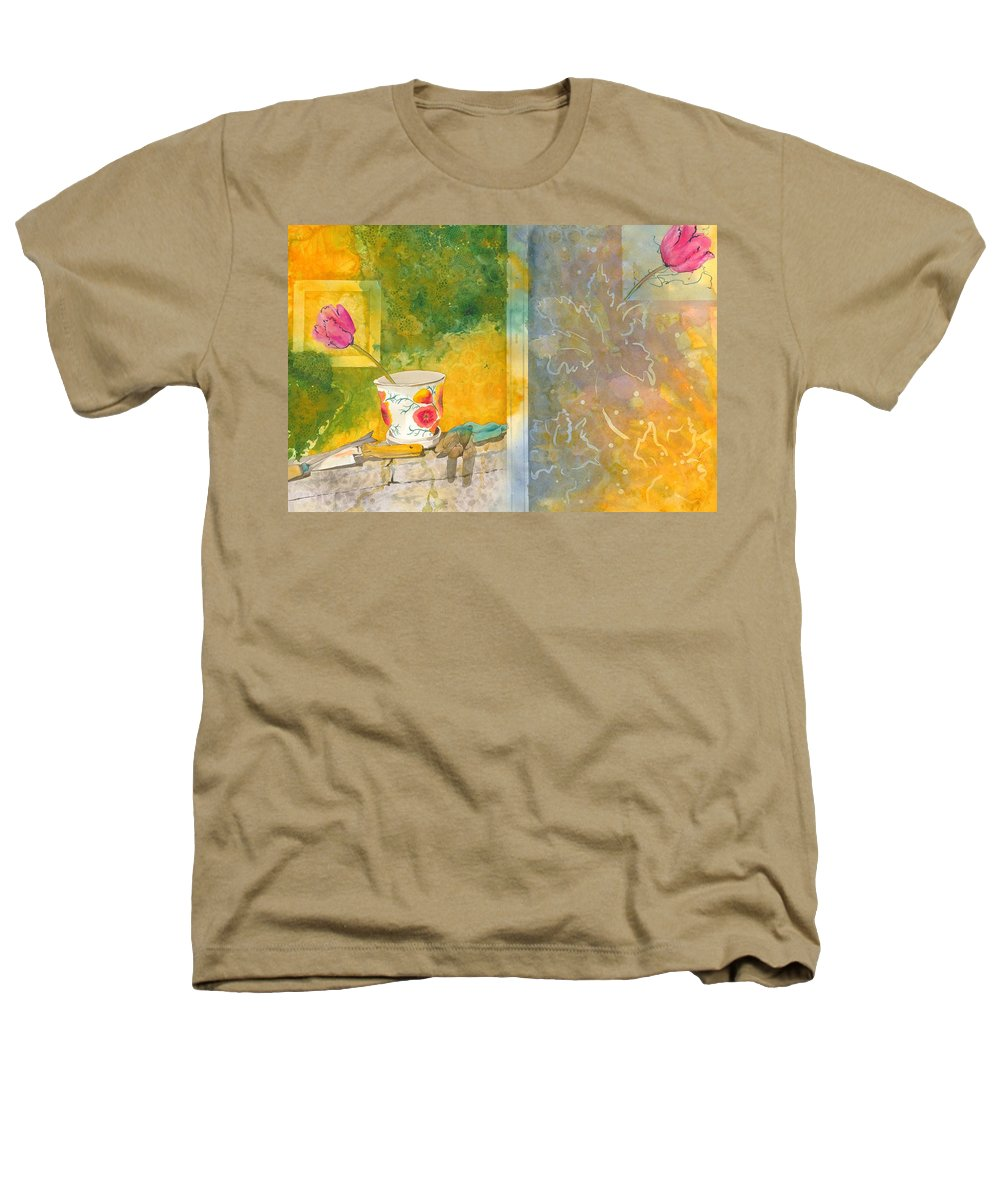 Garden Heathers T-Shirt featuring the painting Along The Garden Wall by Jean Blackmer