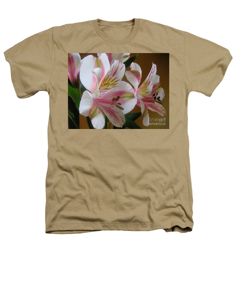 Nature Heathers T-Shirt featuring the photograph Alstroemerias - Listening by Lucyna A M Green
