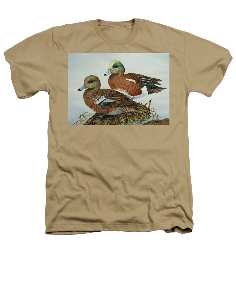 Ducks Heathers T-Shirt featuring the painting American Widgeons by Elaine Booth-Kallweit
