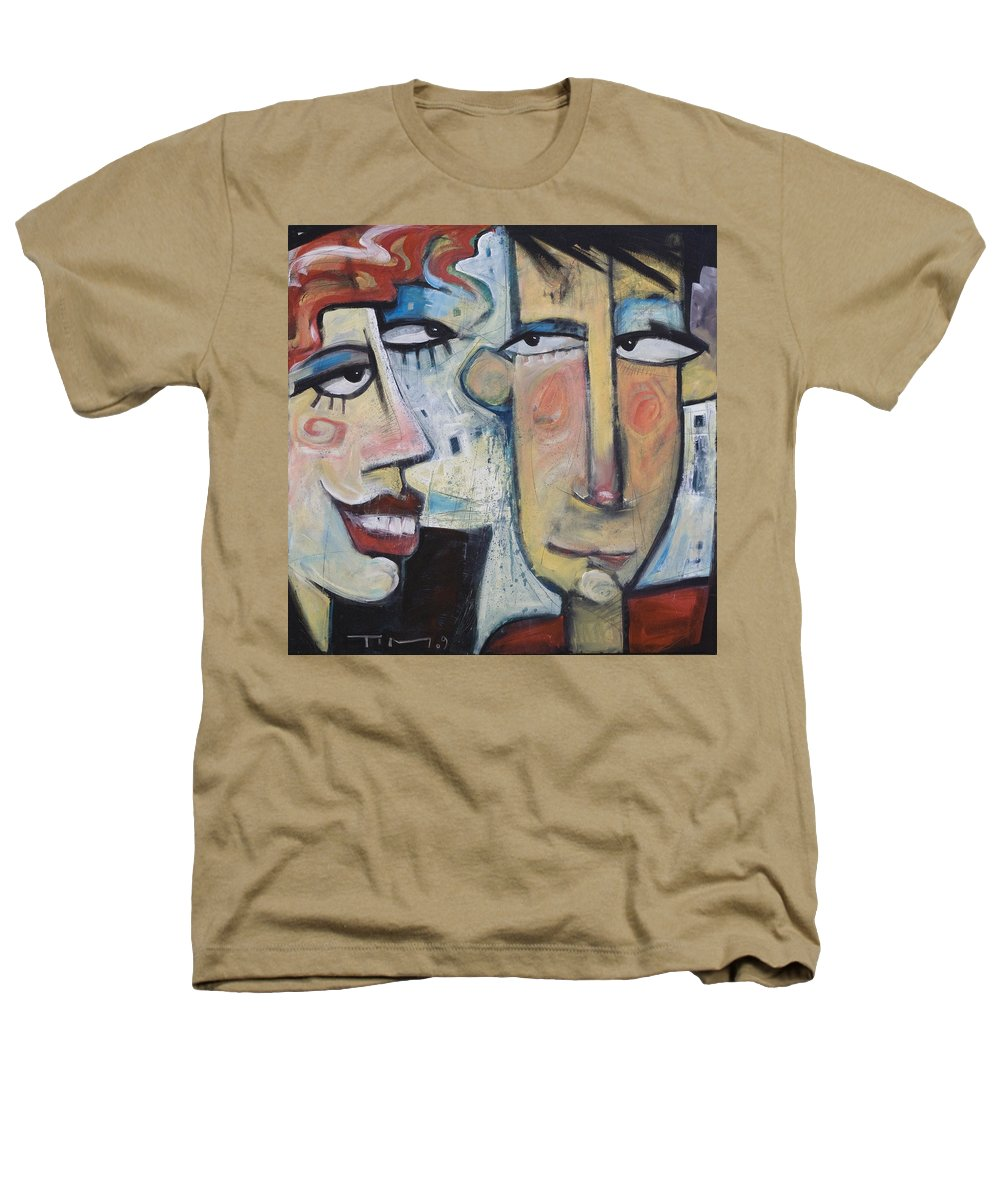 Man Heathers T-Shirt featuring the painting An Uncomfortable Attraction by Tim Nyberg