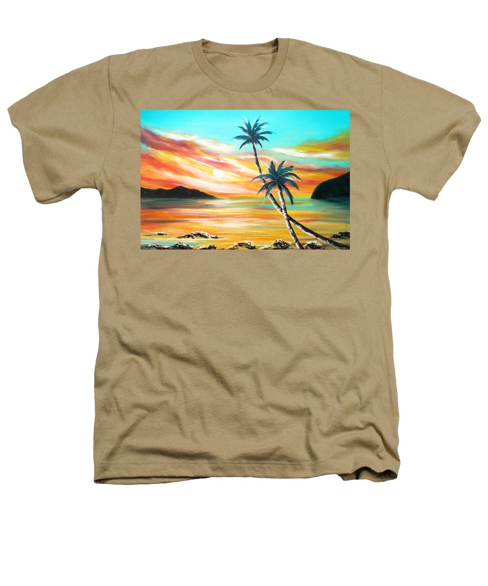 Sunset Heathers T-Shirt featuring the painting Another Sunset In Paradise by Gina De Gorna