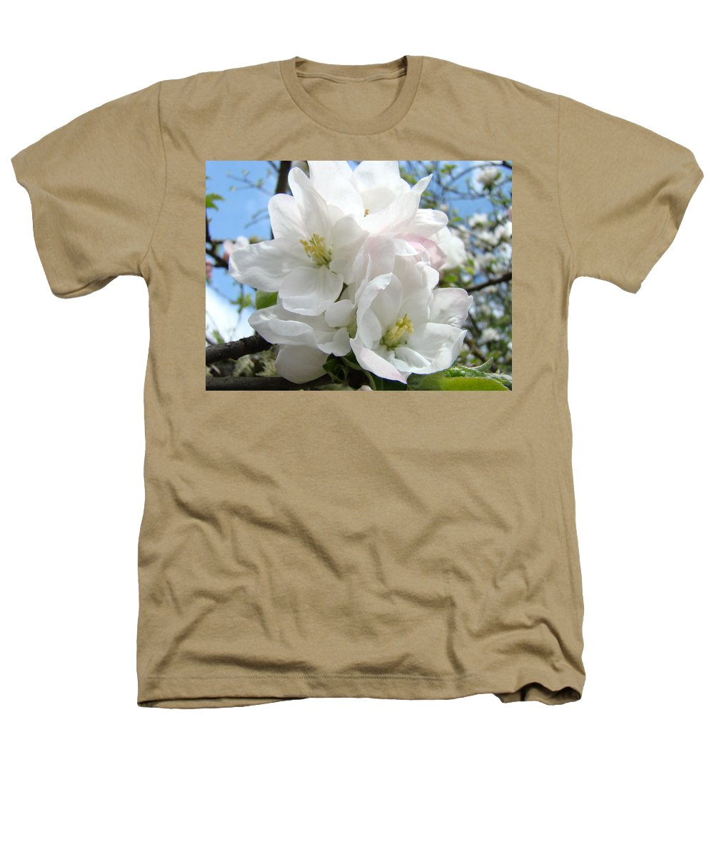 �blossoms Artwork� Heathers T-Shirt featuring the photograph Apple Blossoms Art Prints Giclee 48 Spring Apple Tree Blossoms Blue Sky Macro Flowers by Baslee Troutman