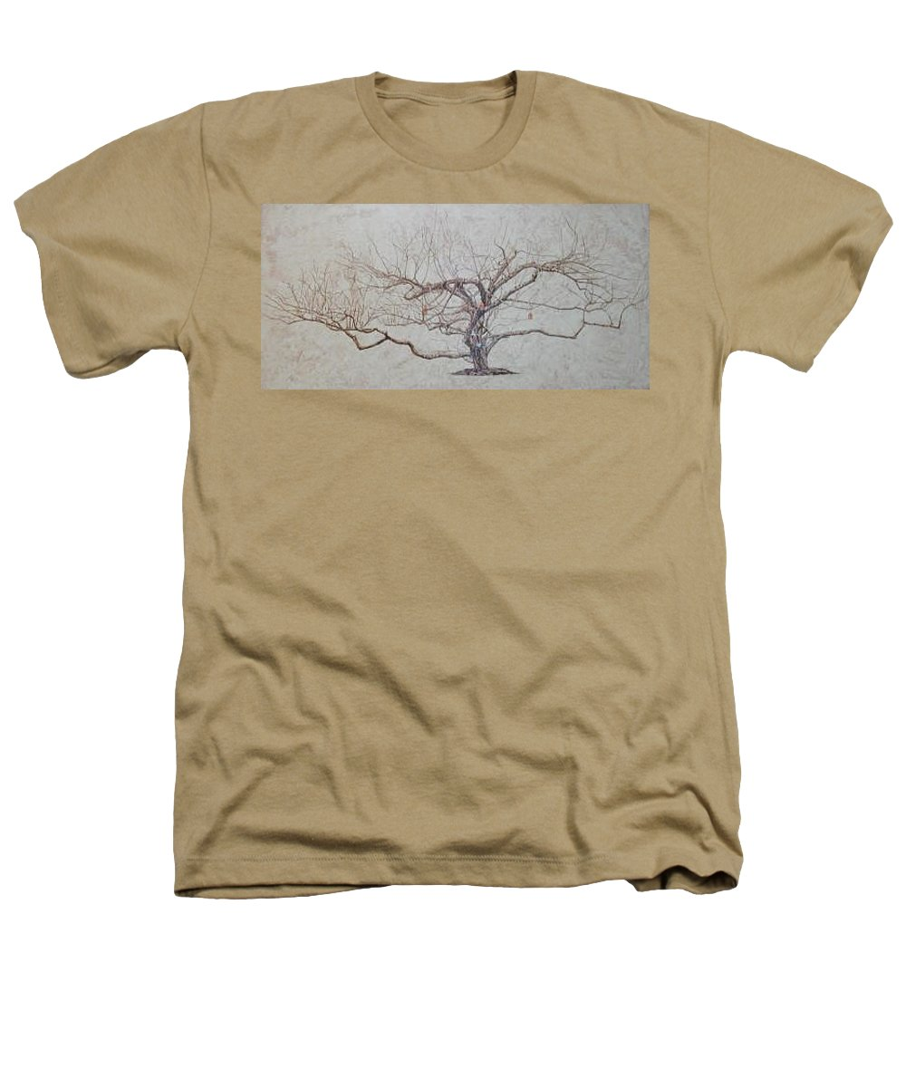Apple Tree Heathers T-Shirt featuring the painting Apple Tree In Winter by Leah Tomaino