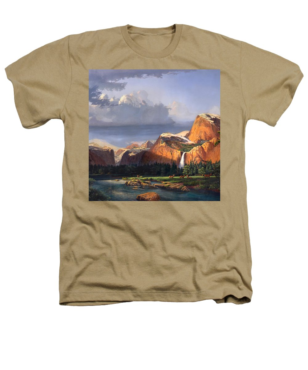 American Heathers T-Shirt featuring the painting Deer Meadow Mountains Western Stream Deer Waterfall Landscape Oil Painting Stormy Sky Snow Scene by Walt Curlee