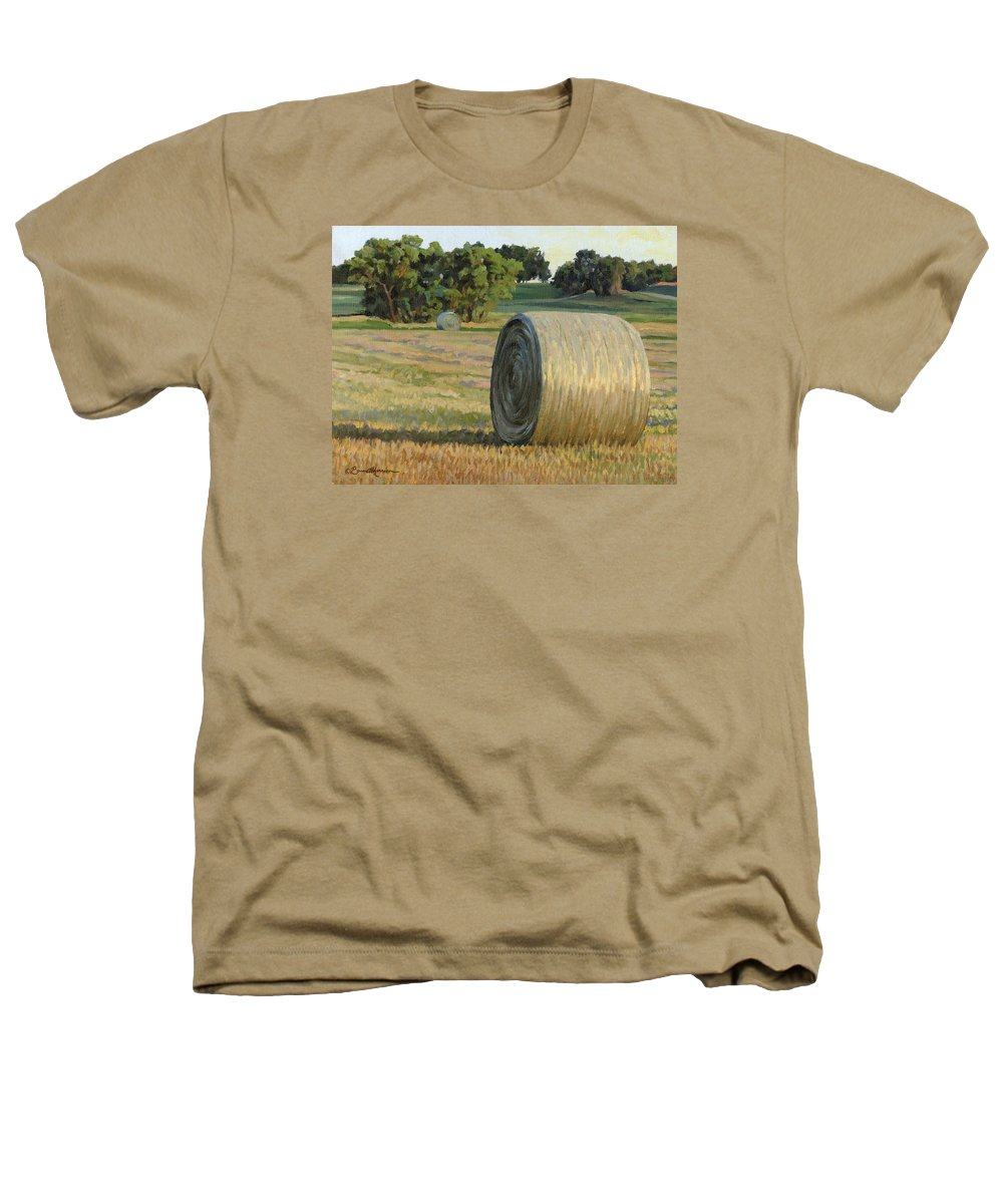 Landscape Heathers T-Shirt featuring the painting August Bales by Bruce Morrison