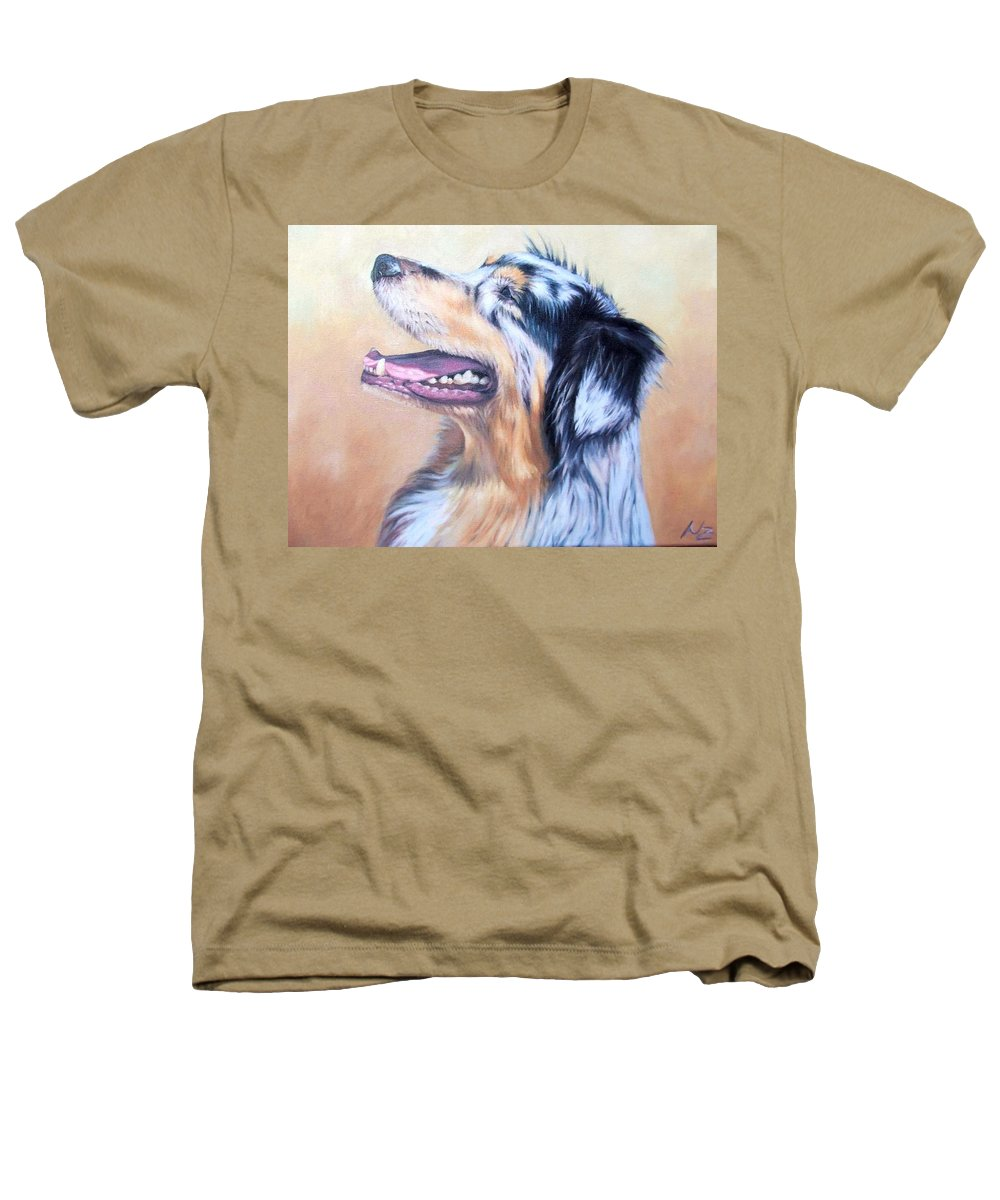 Dog Heathers T-Shirt featuring the painting Australian Shepherd Dog by Nicole Zeug