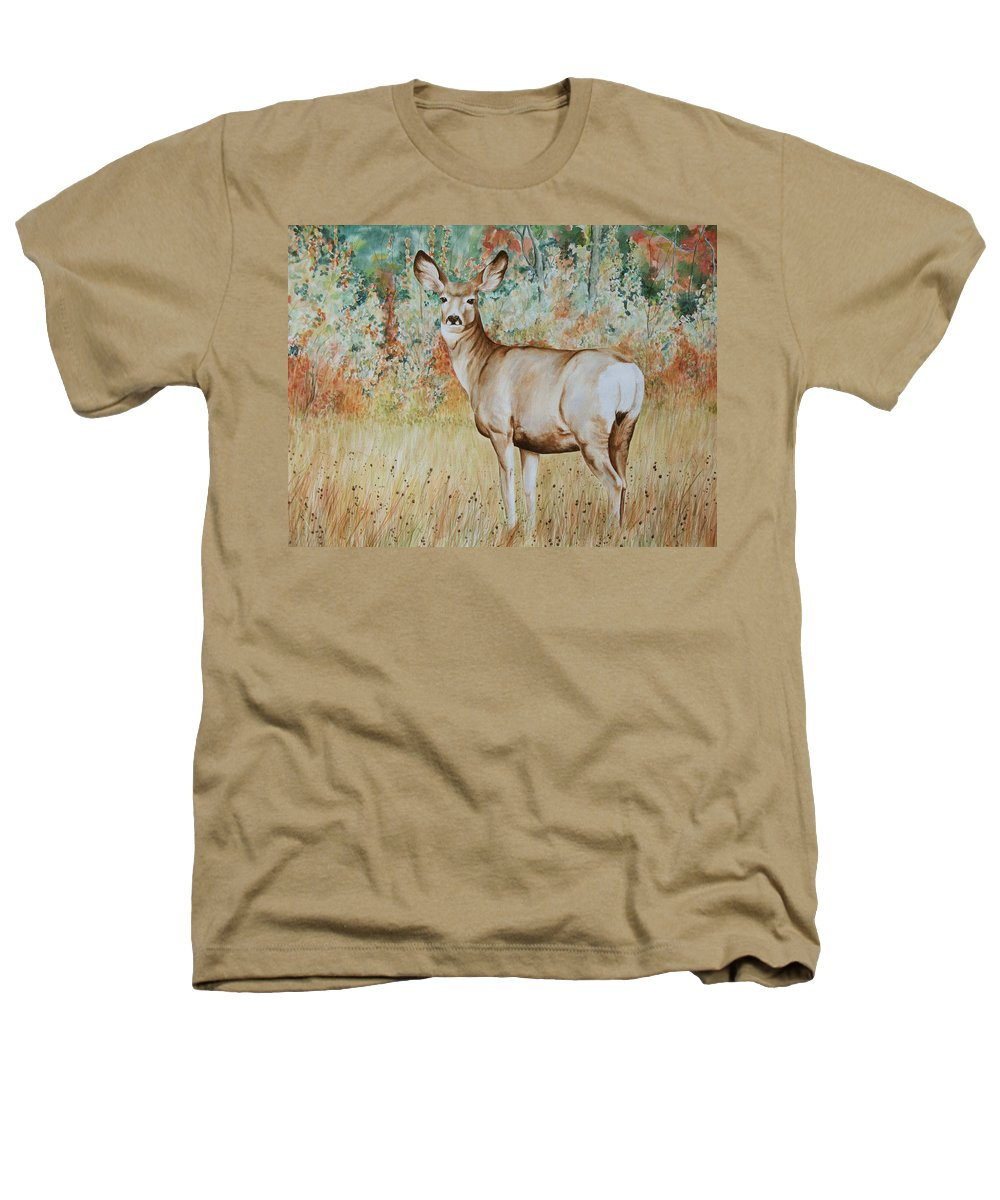 Wildlife Heathers T-Shirt featuring the painting Autumn Beauty- Mule Deer Doe by Elaine Booth-Kallweit